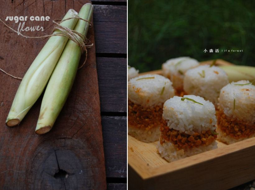 sugar cane flower and rice ball